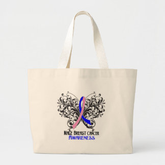 Butterfly Male Breast Cancer Awareness Tote Bags