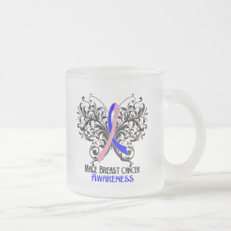 Butterfly Male Breast Cancer Awareness Frosted Glass Mug