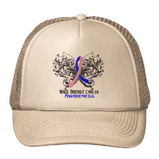 Butterfly Male Breast Cancer Awareness Mesh Hats