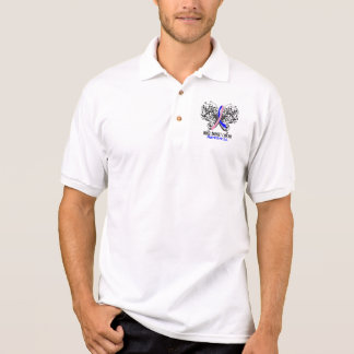 Butterfly Male Breast Cancer Awareness Polo T-shirts