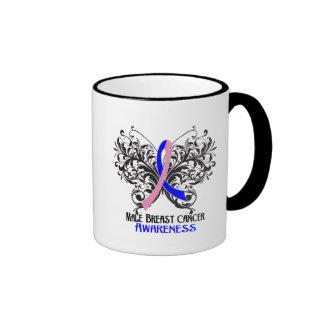 Butterfly Male Breast Cancer Awareness Ringer Mug