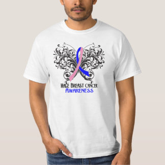 Butterfly Male Breast Cancer Awareness Shirts