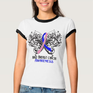 Butterfly Male Breast Cancer Awareness T Shirt