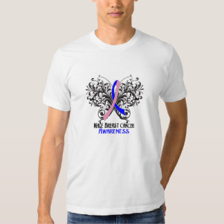 Butterfly Male Breast Cancer Awareness T Shirts