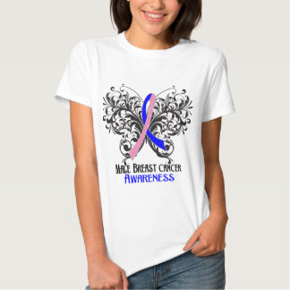 Butterfly Male Breast Cancer Awareness T-shirts