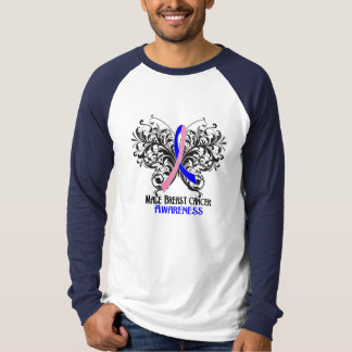 Butterfly Male Breast Cancer Awareness Tee Shirt