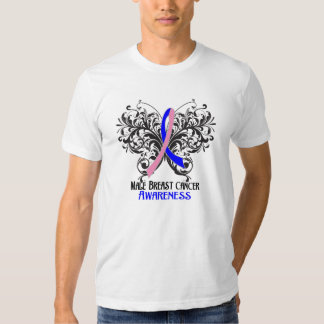 Butterfly Male Breast Cancer Awareness Tees