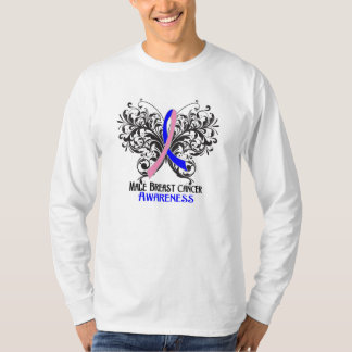 Butterfly Male Breast Cancer Awareness Tshirts
