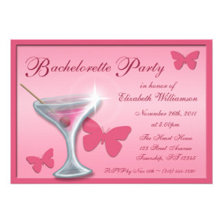 Butterfly Martini Bachelorette Party Invitations