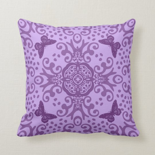 Butterfly Medallion Vintage Look Purple Cushion