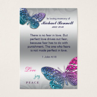 Butterfly Memorial Card Biblical 1 John 4:18