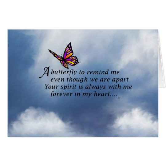 Butterfly Memorial Poem Card