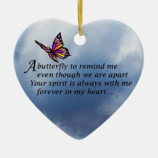 Butterfly  Memorial Poem Ceramic Heart Decoration