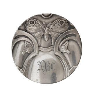 Butterfly Monogram Antique Silver Plate Porcelain Plates