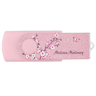Butterfly Monogram Cherry Blossoms Pink Glitter USB Flash Drive