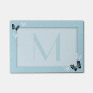 Butterfly Monogram on Teal Post-it Notes