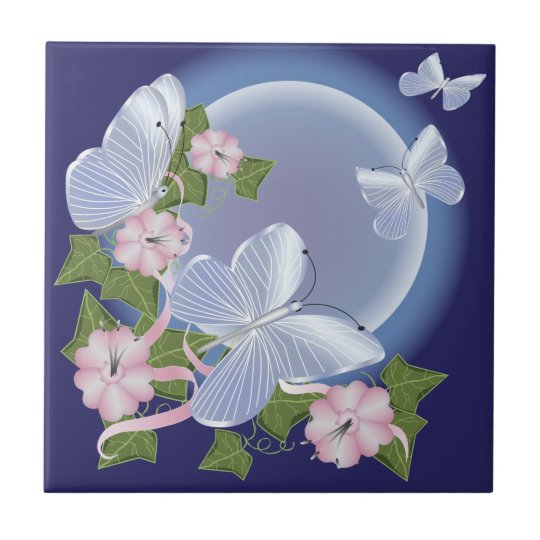 Butterfly Moon Beams Small Square Tile