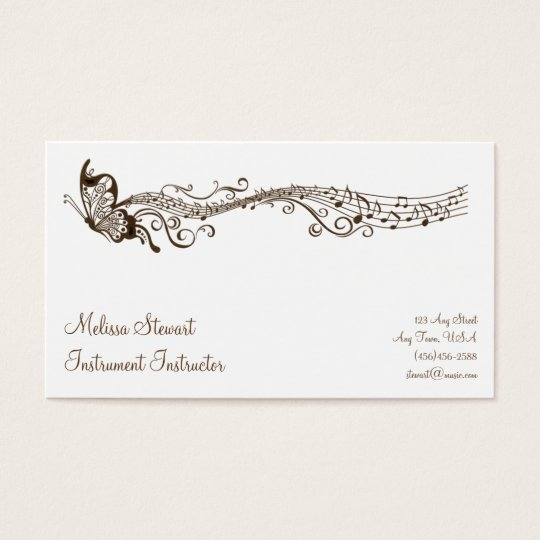 Butterfly Music Teacher Business Cards