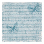 Butterfly Musical Romance Blue Poster