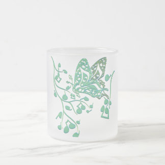 Butterfly_Notes Frosted Glass Mug