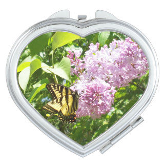 Butterfly on a Lilac Bush Travel Mirror