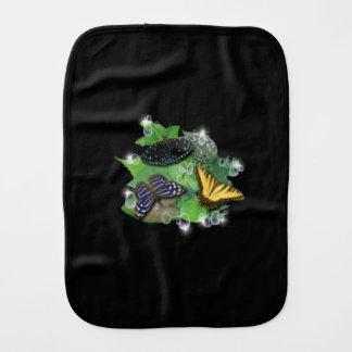 Butterfly on black burp cloth