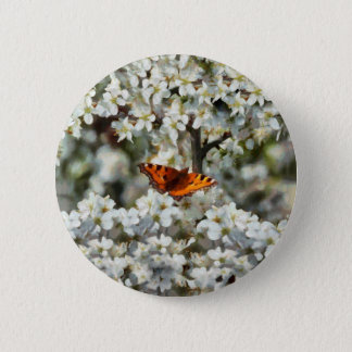 Butterfly on Blossom 6 Cm Round Badge