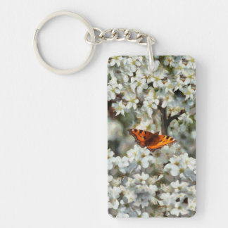 Butterfly on Blossom Single-Sided Rectangular Acrylic Key Ring