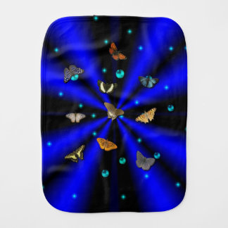 Butterfly on Blue Black Rainbow Burp Cloth