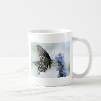 Butterfly on Blue Blossom Basic White Mug