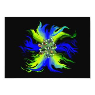 Butterfly on blue green Rainbow with star, drop 13 Cm X 18 Cm Invitation Card