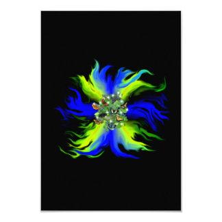 Butterfly on blue green Rainbow with star, drop 9 Cm X 13 Cm Invitation Card
