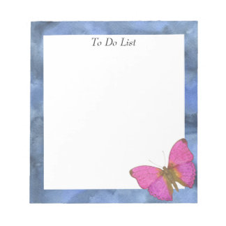 Butterfly on Blue Watercolor Notepad