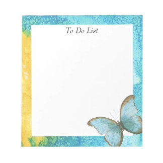 Butterfly on Blue/Yellow Watercolor Notepad