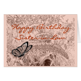 Butterfly on bush pencil sketch - any occasion greeting card
