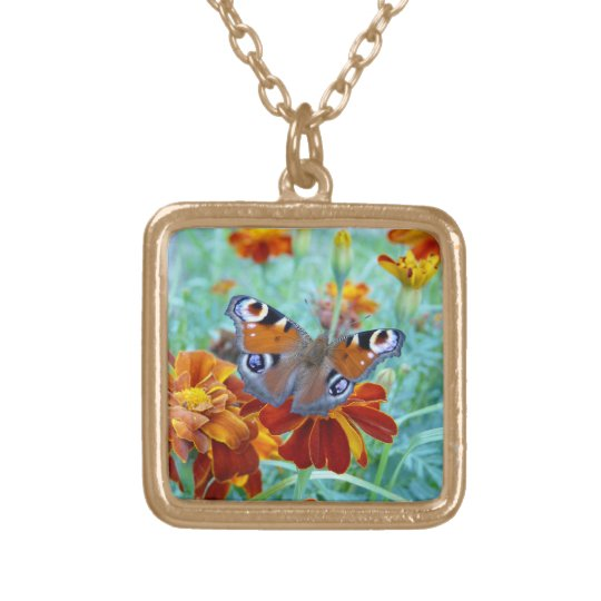 Butterfly On Colourful Flowers Gold Plated Necklace
