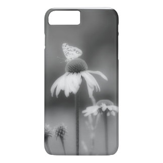 Butterfly on Coneflower Black & White Photography iPhone 7 Plus Case