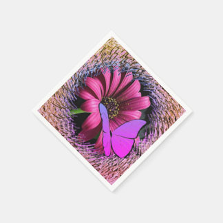 Butterfly on Daisy Paper Napkin