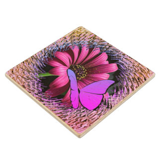 Butterfly on Daisy Wood Coaster