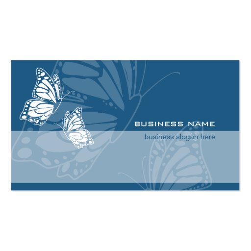 Butterfly on Dark Blue Elegant Modern Simple Business Card Template