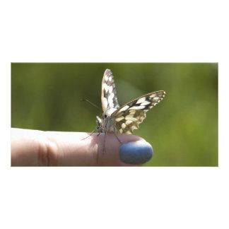 butterfly on finger customised photo card
