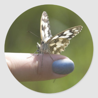 butterfly on finger round sticker