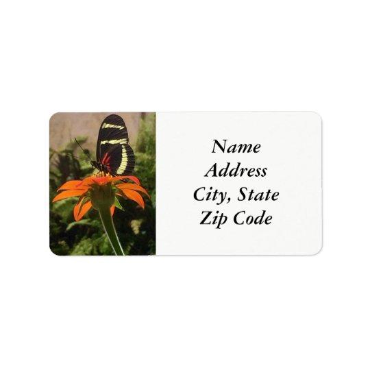 Butterfly on flower address labels
