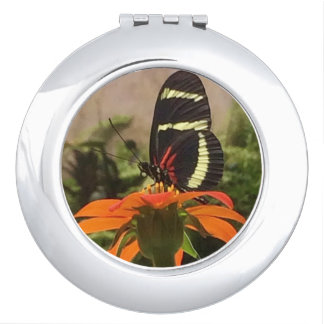 Butterfly on flower compact mirror