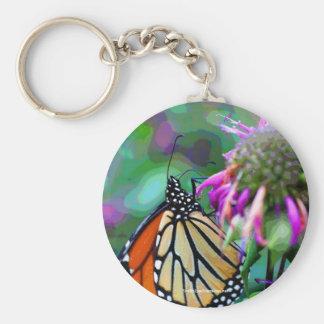 Butterfly On Flower Digital Art Photo Keychain