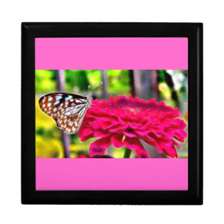 Butterfly on Flower Keepsake Box