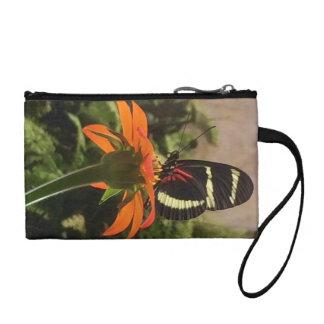 Butterfly on flower wristlet purse