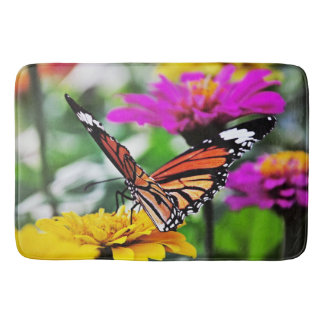 Butterfly on Flowers #2 Bath Mats
