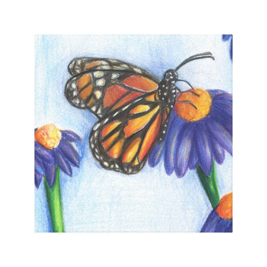 "Butterfly on Flowers Wrapped Canvas (12"" x 12"")"