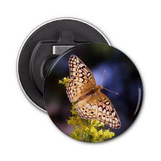 Butterfly on Goldenrod Magnet Bottle Opener